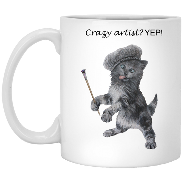 White Mug - Crazy Kitten Collection
