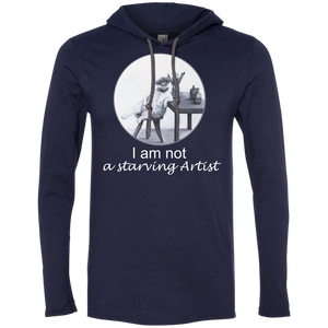 Navy Mens 987 Anvil LS T-Shirt Cat Hoodie - Original Collection from Artisticat