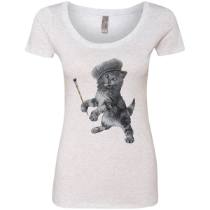 Ladies' Triblend Scoop Cat T-Shirt - Crazy Kitten Collection