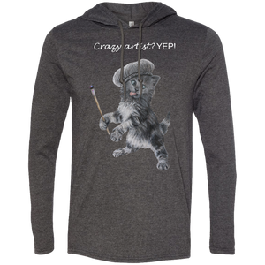 Grey Mens TShirt Hoodie in Black, Grey or Navy - Crazy Kitten Collection