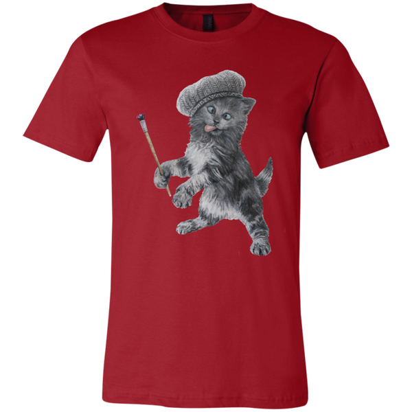 Red Unisex Jersey Cat TShirt - Crazy Kitten Collection from Artisticat