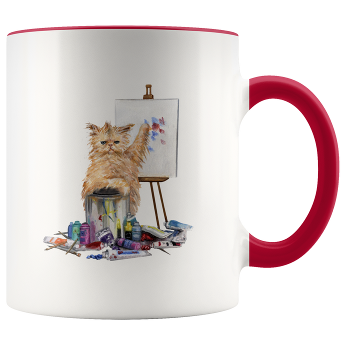 Creative Cat Mug With Accent Colour - various colours