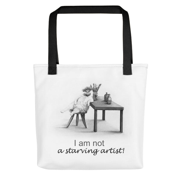 Cat bag for artists saying 'I am not a Starving Artist' - from Artisticat