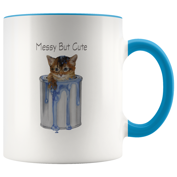 Messy But Cute Cat Mug With Accent Colour - various colours