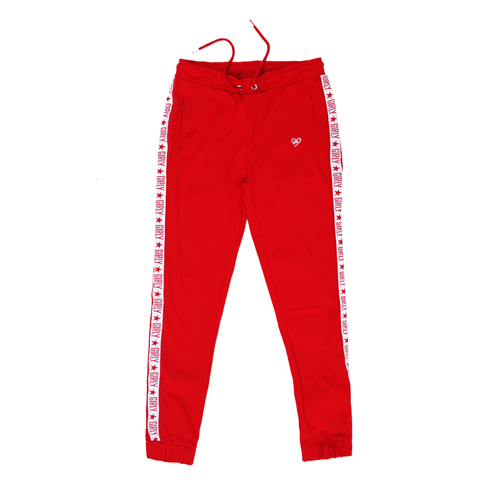 Girly track pants red