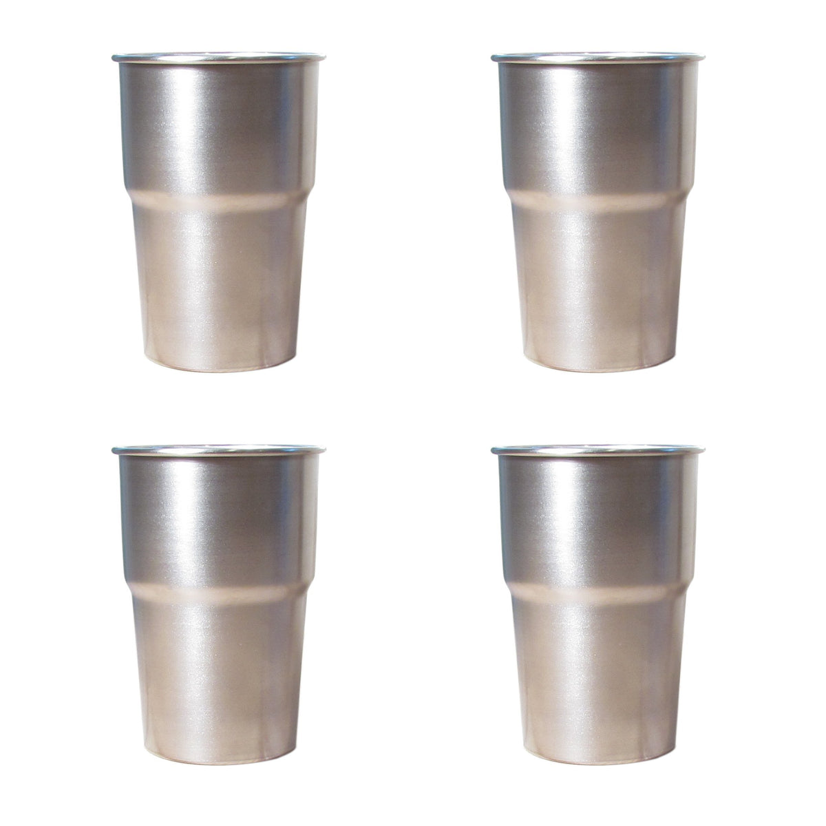 4 x Stainless Steel Pint Cups
