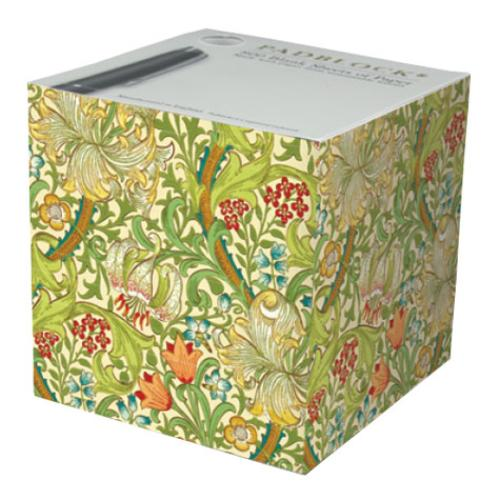 Golden Lily Pattern Paper Notecube - Made in Britain - BRIT LOCKER