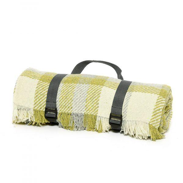 Check Picnic Rug - Green & Silver - Made in Britain -BRIT LOCKER