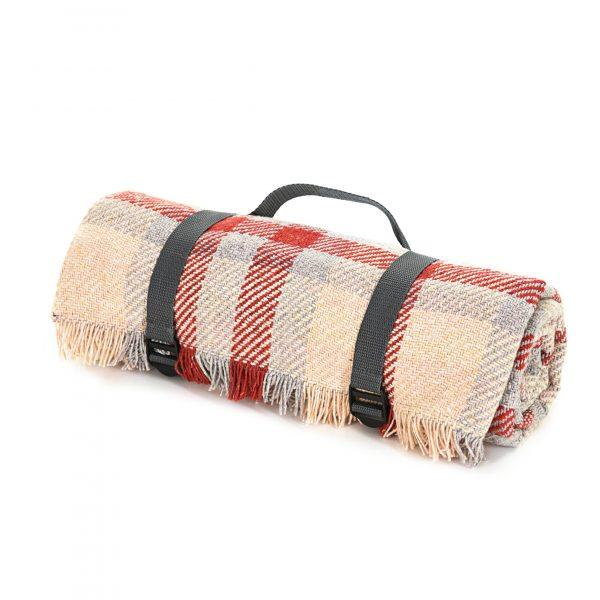 Check Picnic Rug - Red & Silver - Made in England - BRIT LOCKER