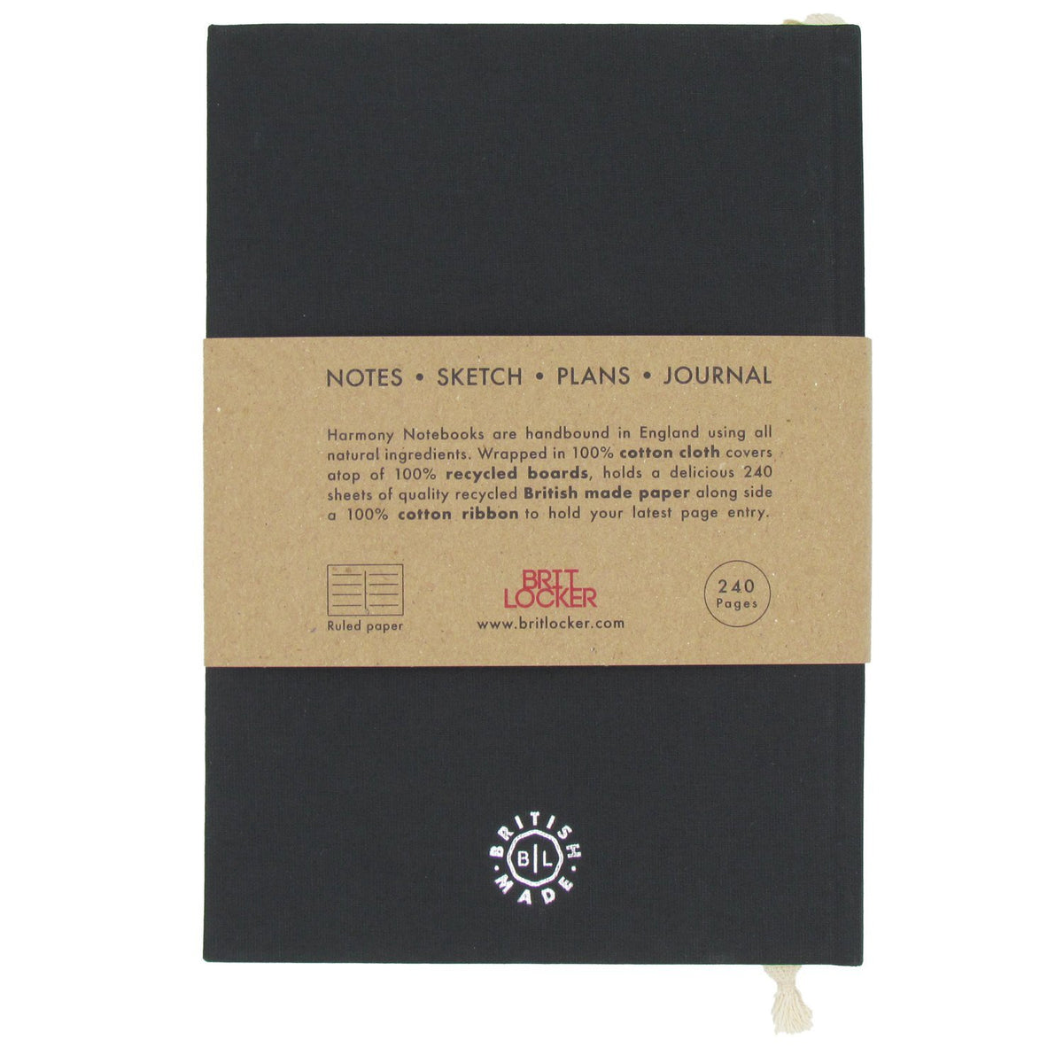 Harmony Eco-Friendly Notebook - Black - British Made - BRIT LOCKER