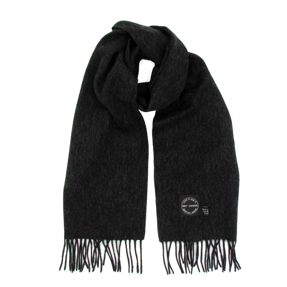 Charcoal Lambswool Scarf - Made in Britain - BRIT LOCKER