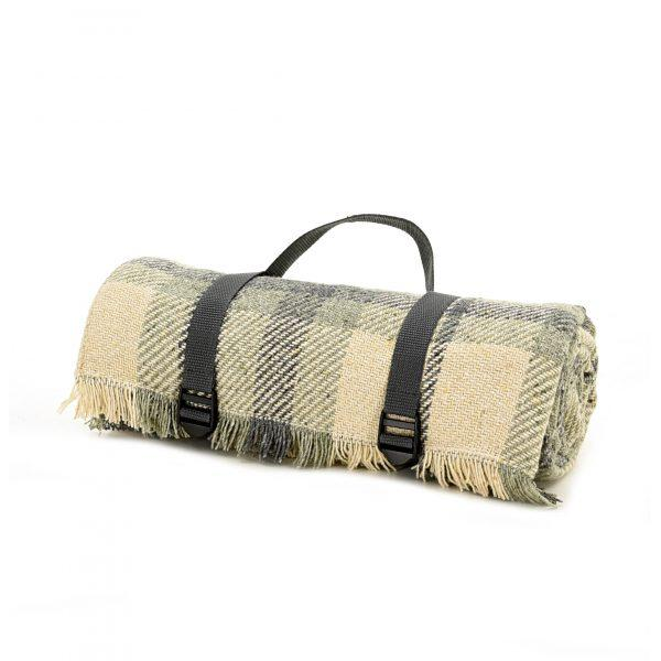 Check Picnic Rug - Charcoal and Duck Egg - Made in Britain - BRIT LOCKER