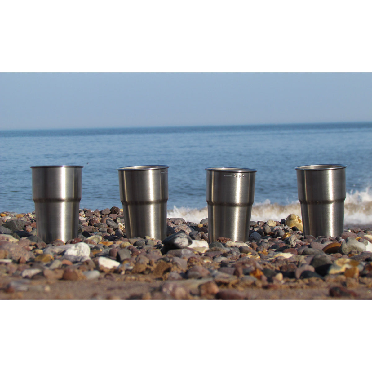 4 x Stainless Steel Eco Pint Cups on Beach
