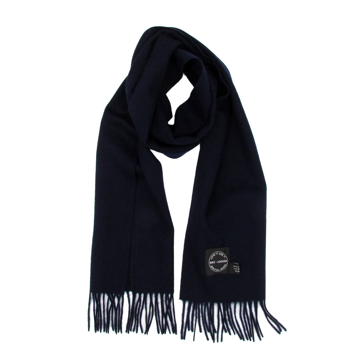 Dark Blue Lambswool Scarf - Made in Britain - BRIT LOCKER