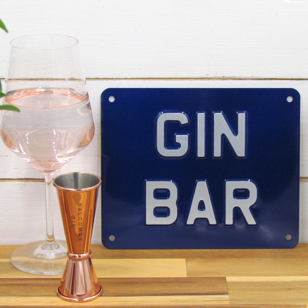 Gin Bar Enamel Sign - Blue - BRIT LOCKER