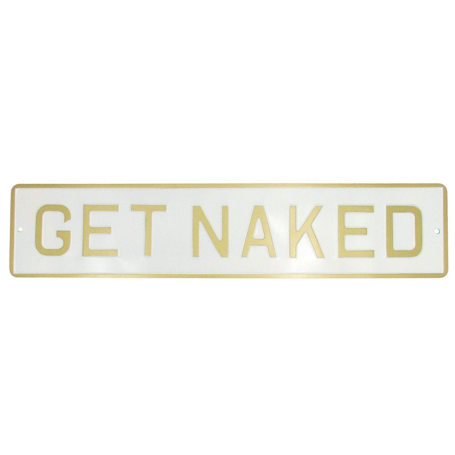 Get Naked Enamel Metal Sign Black and Silver - Made in Britain - BRIT LOCKER