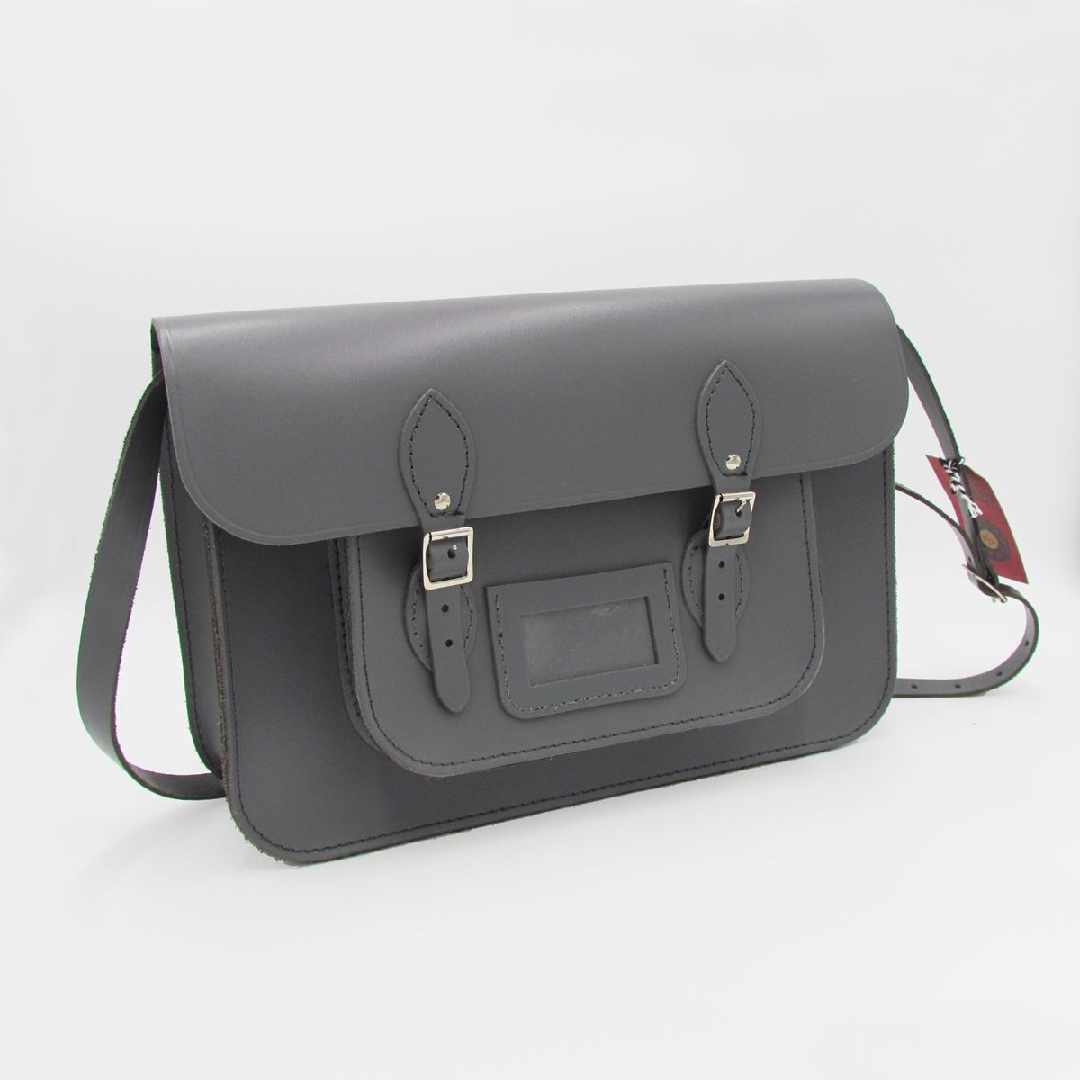Handmade recycled leather satchel (Grey)