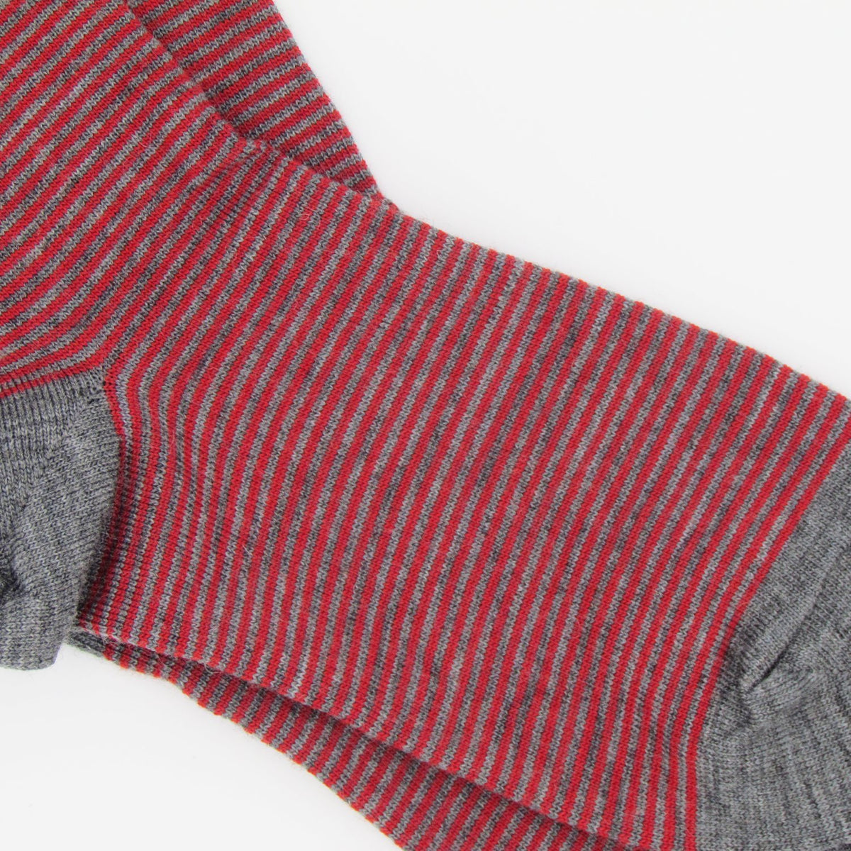 Pencil Stripe Wool Socks - Mid Grey/Red