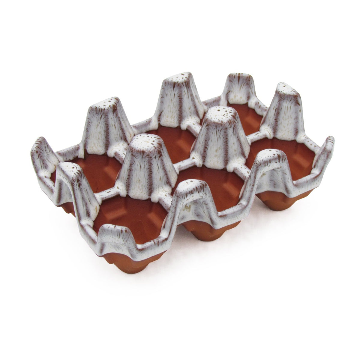 Terracotta 6 egg holder - Oyster Glaze