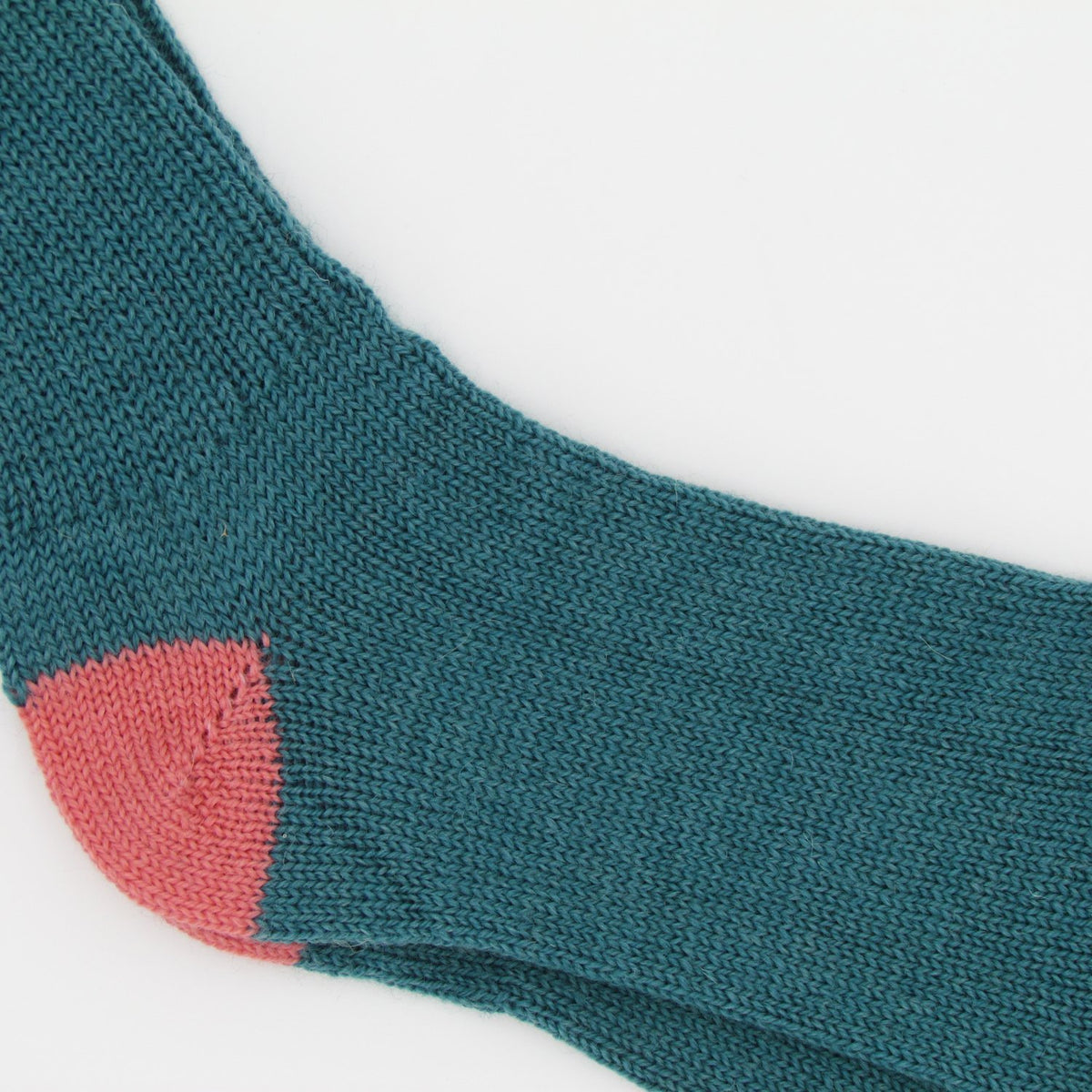Soft Wool Socks - Aqua/Salmon