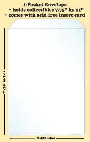1-Pocket Polypropylene Archival Envelope (card included) - Best hobby pages