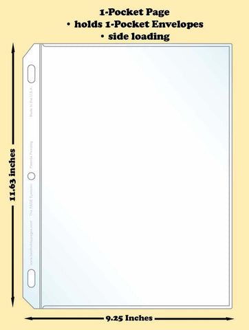 1-Pocket Traditional Polypropylene Archival Page (side loading) - Best hobby pages
