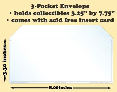 3-Pocket Polypropylene Archival Envelope (card included) - Best hobby pages