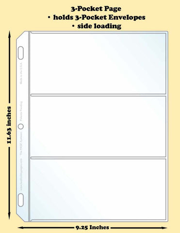 3-Pocket Traditional Polypropylene Archival Page (side loading) - Best hobby pages