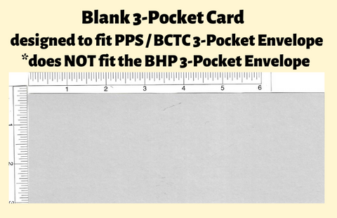 Blank Cards For 3-Pocket Wide Pack of 25
