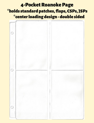 4-Pocket Roanoke Double Sided White Vinyl Page (center loading) - Best hobby pages
