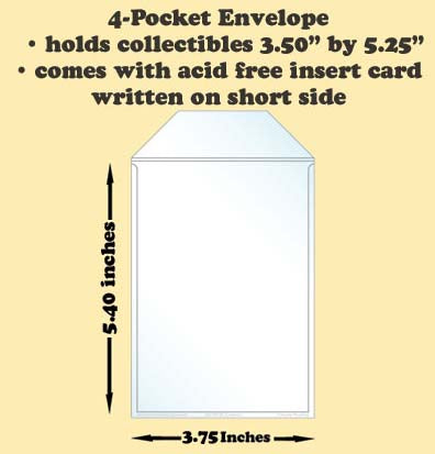 4-Pocket Polypropylene Archival Envelope (short side card included) - Best hobby pages