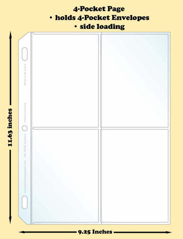 4-Pocket Traditional Polypropylene Archival Page (side loading) - Best hobby pages