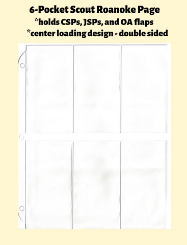 6-Pocket Scout Roanoke Double Sided White Vinyl Page (center loading) - Best hobby pages