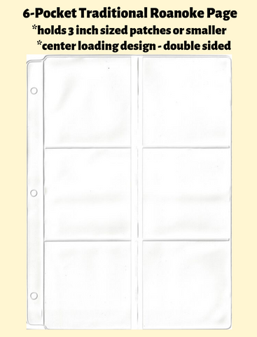 6-Pocket Traditional Roanoke Double Sided White Vinyl Page (center loading) - Best hobby pages