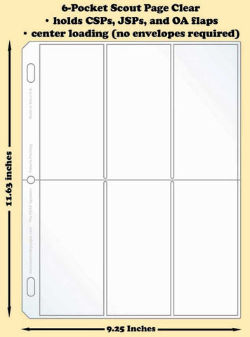 6-Pocket Scout Clear Polypropylene Archival Page (center loading) - Best hobby pages