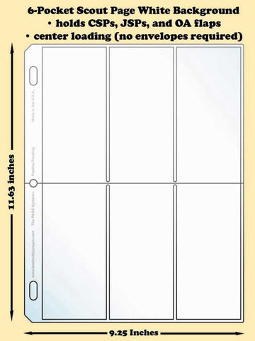 6-Pocket Scout White Polypropylene Archival Page (center loading) - Best hobby pages