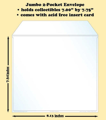 Jumbo 2-Pocket Polypropylene Archival Envelope (card included)