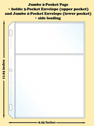 Jumbo 2-Pocket Traditional Polypropylene Archival Page (side loading) - Best hobby pages