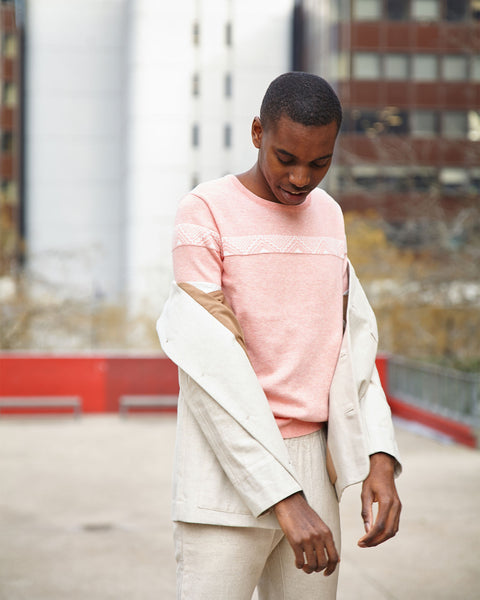 pull rose homme