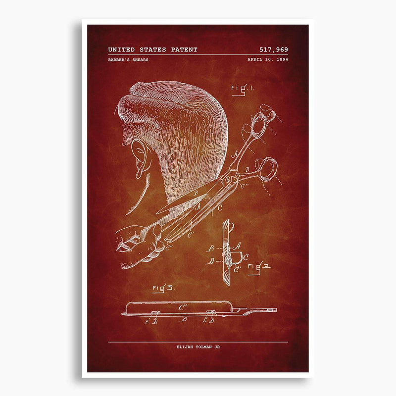 Barbershop Shears Patent Poster; Patent Artwork