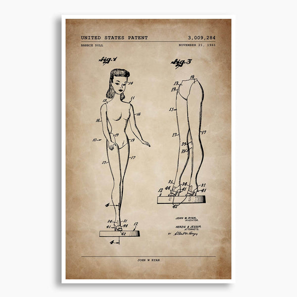 Barbie Doll Patent Poster; Patent Artwork