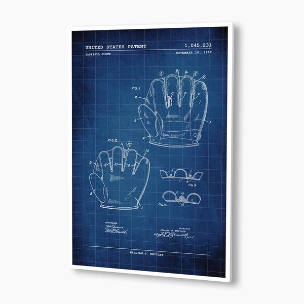 Baseball Glove Patent Poster; Patent Artwork