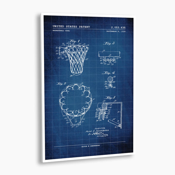 Basketball Hoop Patent Poster; Patent Artwork