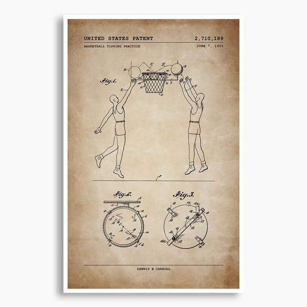 Basketball Tipping Practice Patent Poster; Patent Artwork