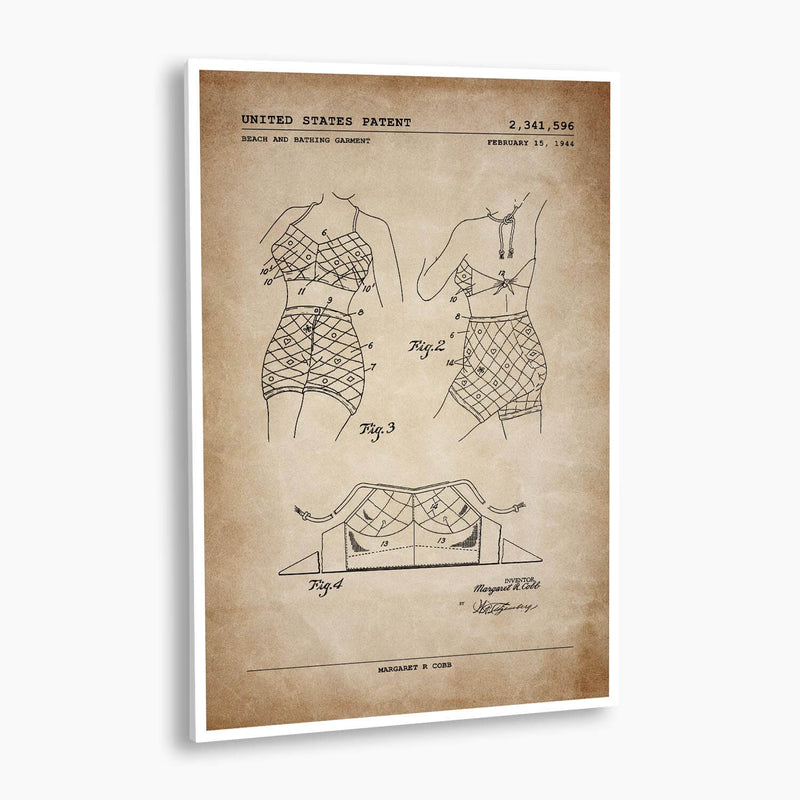 Bathing Garment Patent Poster; Patent Artwork