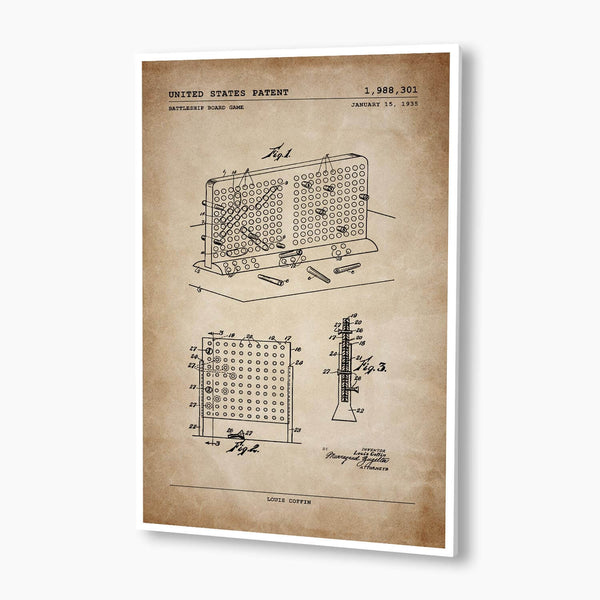 Battleship Board Game Patent Poster; Patent Artwork