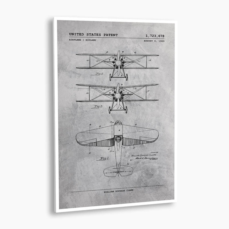 Biplane Aircraft Patent Poster; Patent Artwork