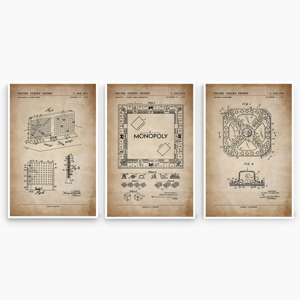 Board Game Patent Poster Collection; Patent Artwork