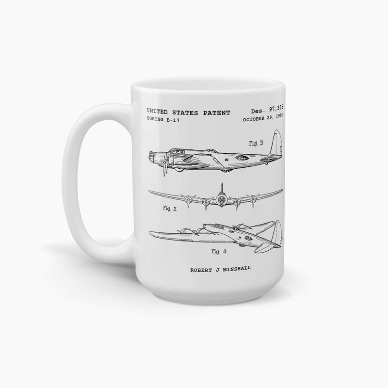 Boeing B-17 Flying Fortress Coffee Mug; Premium Patent Mugs