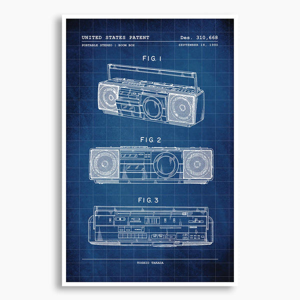 BoomBox Patent Poster; Patent Artwork